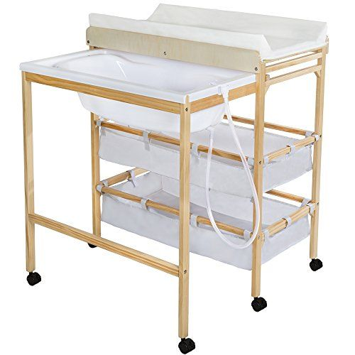 tectake baby toddler changing table station with integrated bath tub unit storage boxes pad wood tectake - Table A Langer Commode