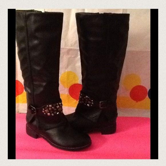 "Black Boots 2013 Fall Host Pick Metal studded biker riding boots. Heel is 2"". Inside zipper.  Side split with ankle buckle. BNWOT Monroe & Main Shoes"