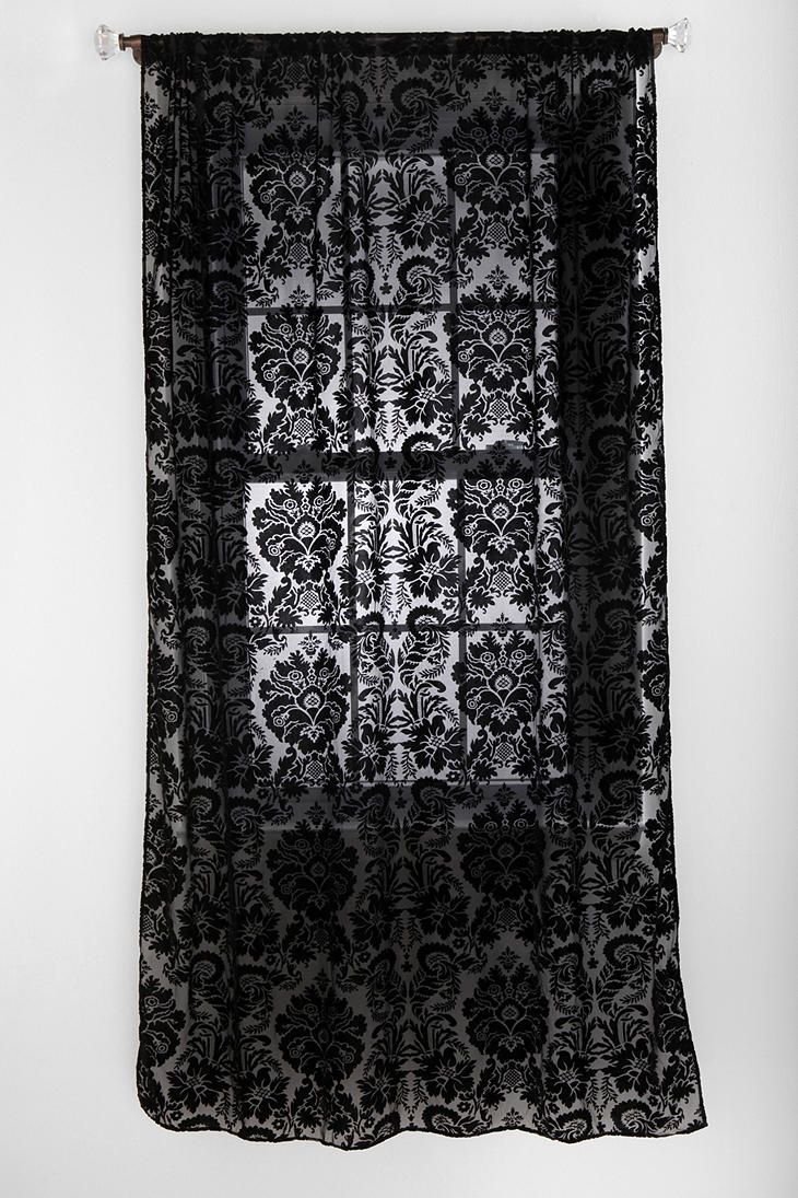 Damask bedroom curtains - Damask Velvet Burnout Curtain Urban Outfitters