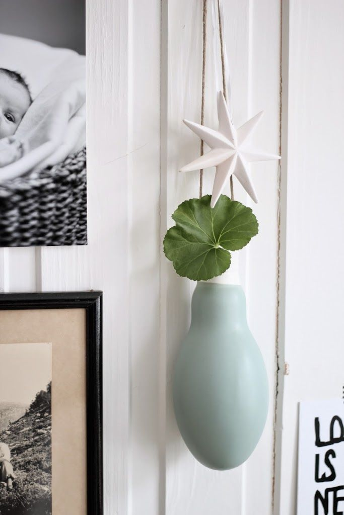 from the blog marthebo.no - our bulb vase hanging on her wall