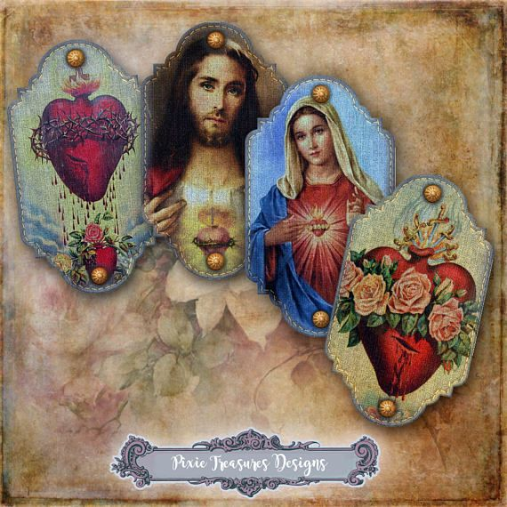 8 Small Sacred Heart Denim Tags #scrapbooking #papercrafts #religious