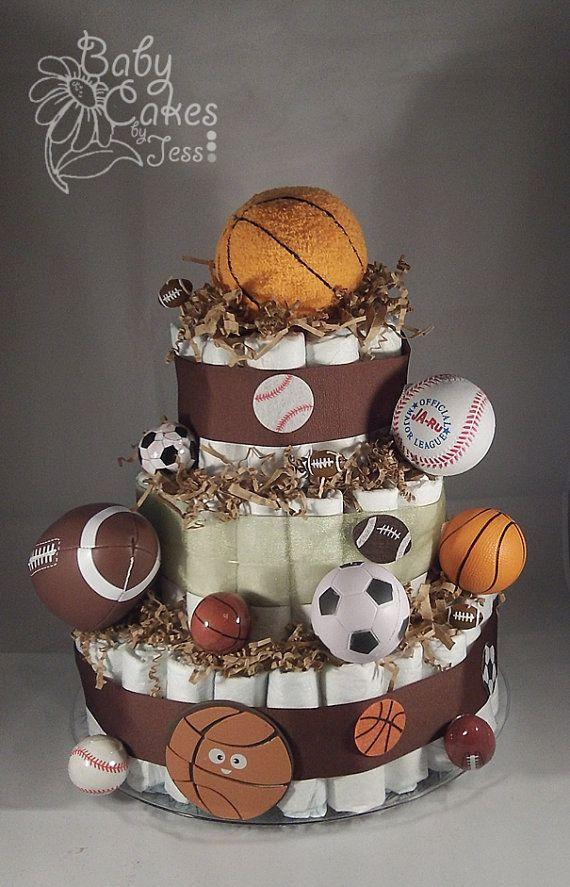 All Sports Diaper Cake by BabyCakesbyJess on Etsy