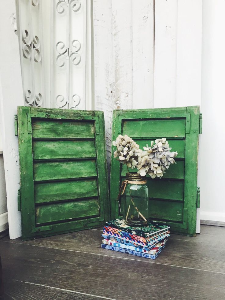 Small Reclaimed Shutters in green shades. Shabby Chic Shutters. Boho decor. Wall Decor. Rustic shutters. Green shutters. Distressed decor. by ReclecticEmporium on Etsy https://www.etsy.com/listing/259965170/small-reclaimed-shutters-in-green-shades