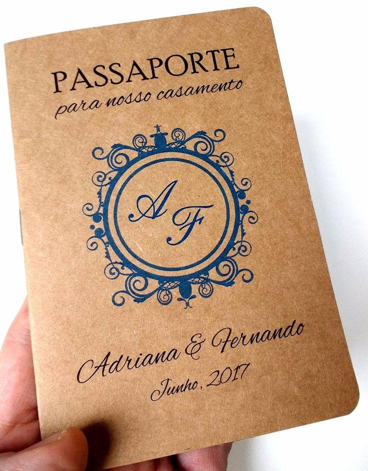 Convites Casamento Criativos Passaporte | R$29 Cada 10 Unid - R$ 29,00