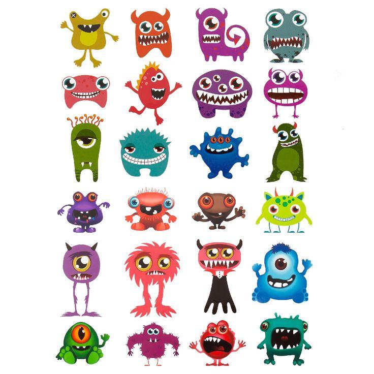 Temporäre Klebetattoos Kinder Tattoo Set - Monster Motive in Spielspass / Basteln  • Tattoos
