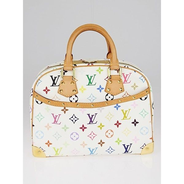 Pre-owned Louis Vuitton White Monogram Multicolore Trouville Bag ($875) ❤ liked on Polyvore featuring bags, structured bag, preowned bags, white bag, louis vuitton and multi coloured bags