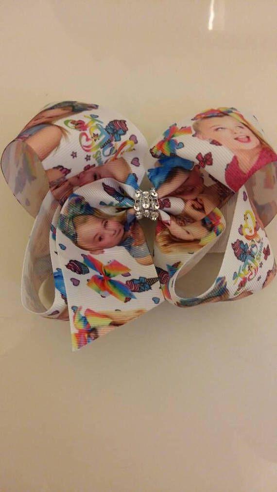 Jojo Siwa Large 7 Rainbow hair bow clip handmade