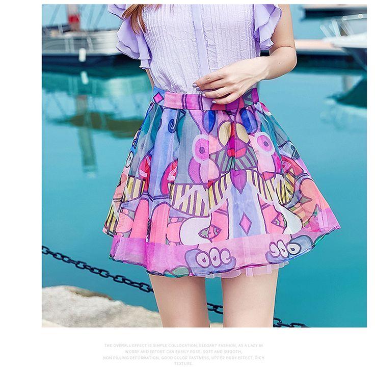 17夏裝新款正品歐美時尚甜美撞色抽象幾何印花網紗蓬蓬短裙半身裙-淘寶網全球站 | Áo lót
