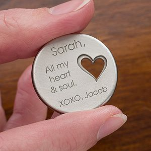"Aww this is so romantic! It's a personalized heart pocket token that you can engrave with any message so your loved one can ""take a piece of your heart with them wherever they go""! Soooo cute! Such a great Valentine's Day gift idea for guys!"