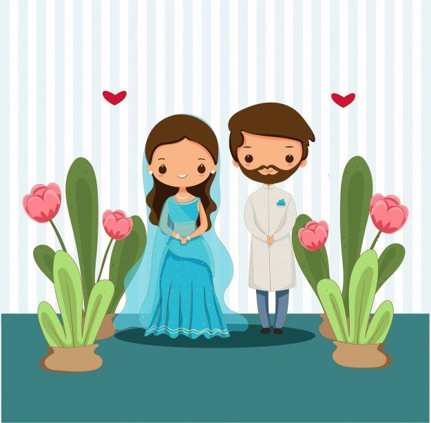 Cute Indian Couple In Traditional Dress For Wedding Illustration In 2020 Custom Illustrated Wedding Invitations Wedding Illustration Wedding Couple Cartoon