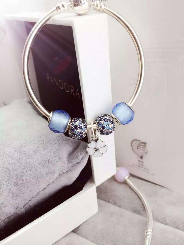 $159 Pandora Bangle Charm Bracelet Blue Flower. Hot Sale