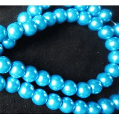 Vibrant Blue Glass Pearls, 8mm - Per string ( /- 100). for R8.00