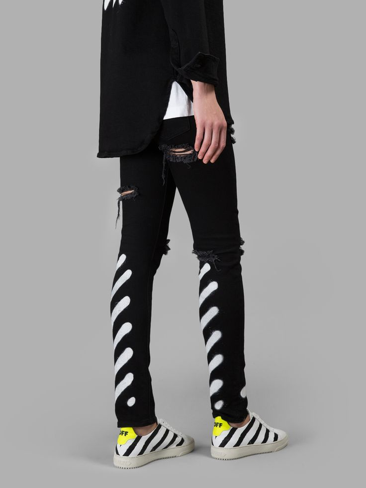 オフ・ホワイト(OFF-WHITE C/O VIRGIL ABLOH)デニム OFF-WHITE C/O VIRGIL ABLOH WOMEN'S BLACK SKINNY JEANS