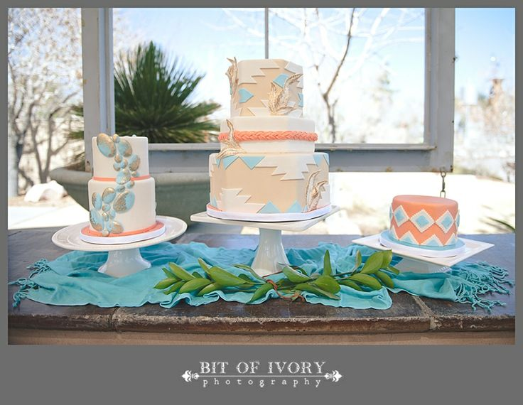Geometric and Native American Coral and Turquoise #Wedding Cake
