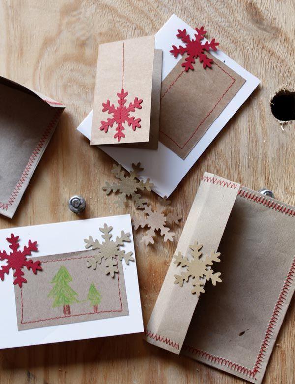 tarjetas de navidad caseras con mucho amor y copos de nieve