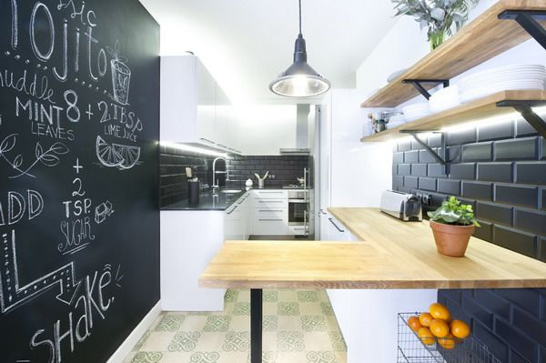 #Cocina con pared de pizarra. #Reformas