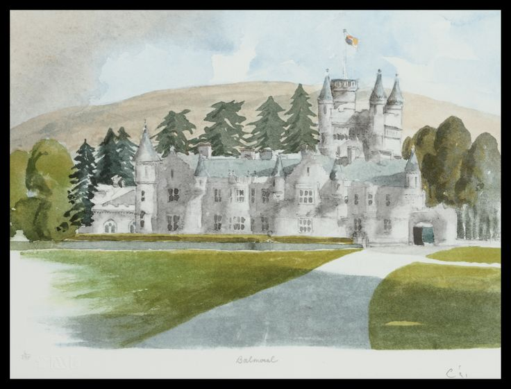"HRH The Prince of Wales Balmoral 46 x 61 cm £5,250  ""...One thing I have discovered in the course of my painting efforts is that Balmoral Castle is marginally easier to paint than Sandringham House. Both seem to be peppered with turrets of various kinds and to boast the most complicated sorts of gables which defy my limited reserves of patience!"""