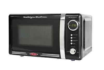 Microwave Oven Small Compact Black Retro 0.7 Cu. Ft. Vintage Electric Dorm New
