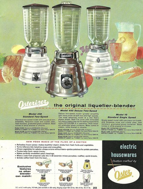 Vintage mid-century ad for Oster blenders. #vintage #kitchen #small_appliances