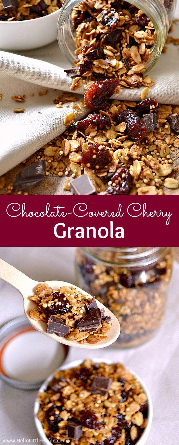 Chocolate-Covered Cherry Granola ... a delicious and easy to make breakfast idea! This healthy, vegan granola recipe is packed with tasty, good-for-you ingredients, like quinoa, dark chocolate, oats, and dried cherries. Makes a great snack, too! | Hello L