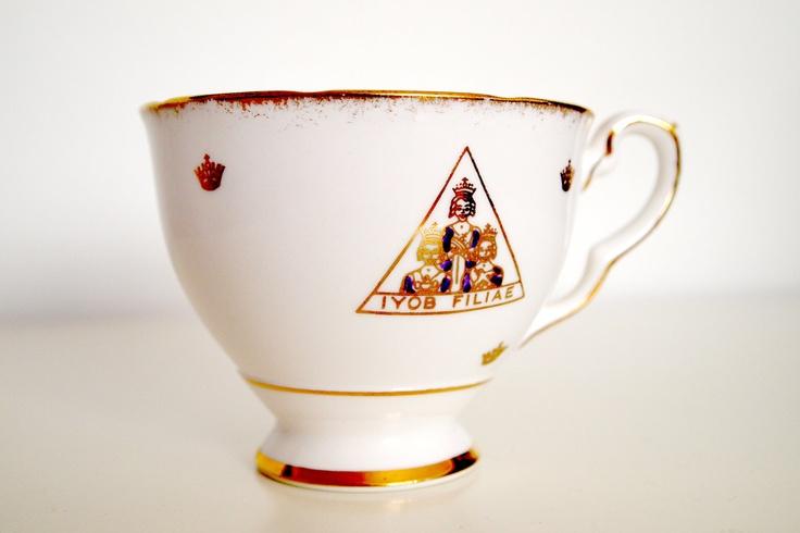 Rare Iyob Filiae Jobs Daughters Royal Stafford Gold Rim Tea Cup.