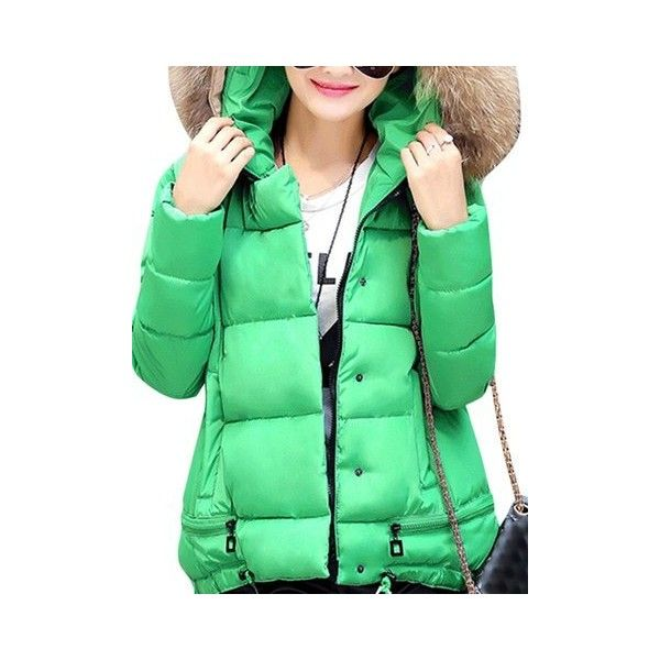 Faux Fur Hooded  Down Coats (78 BAM) ❤ liked on Polyvore featuring plus size women's fashion, plus size clothing, plus size outerwear, plus size coats, green, pattern coat, hooded down coat, faux fur hood coat, green coats and long sleeve coat
