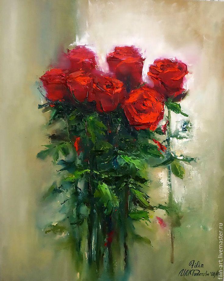 """Розы Картина маслом на холсте """"Букет алых роз"""" - ярко-красный, алый, зеленый, бежевый, розы, букет, картина маслом, картина маслом на холсте, цветы, картина маслом цветы, розы маслом, авторская живопись маслом, картина с розами, авторская живопись, картина в подарок, картина для интерьера, филатова, филин-арт, картина маслом от автора, яркая картина в интерьер"""