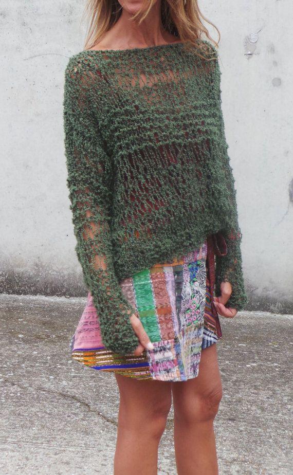 green sweater / green lightweight oversized grunge by ileaiye, $100.00