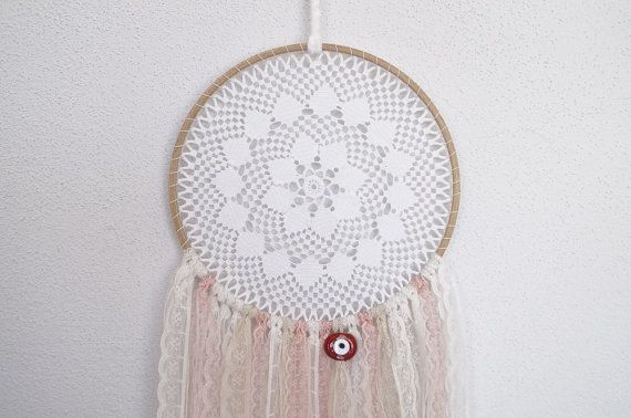 Lace doily white dreamcatcher. Boho wall hanging. Home by fundart