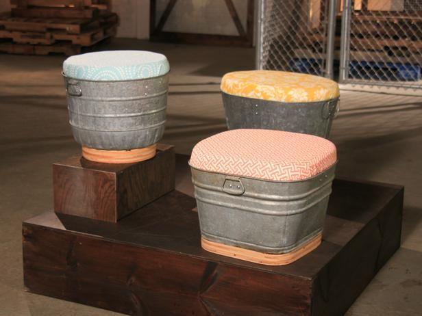 outdoor seating on indoor ottoman-- different tops.  34 More Unbelievable Flea Market Flips : Tv Shows : DIY Network