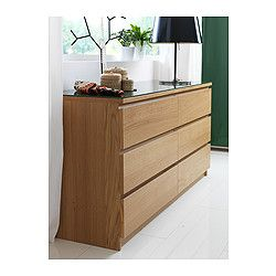 Malm commode 6 tiroirs plaqu ch ne blanchi malm ikea and drawers - Commode chene blanchi ...