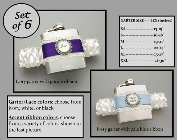 These are hilarious! Love it!!  Six (6) Personalized Flask Garters for Bridesmaids: Wedding Party Gift Set - Choose Your Colors on Etsy, $190.00