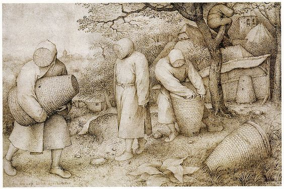 Pieter Bruegel the Elder - The Beekeepers and the Birdnester - c1568 Çizimler ve ortaçağ gravür ilk cep kovan, sepet şeklindeki kapların (Pieter Brueghel Elder adlı 1568 yılında ölümsüzleştirdi) göstermektedir::