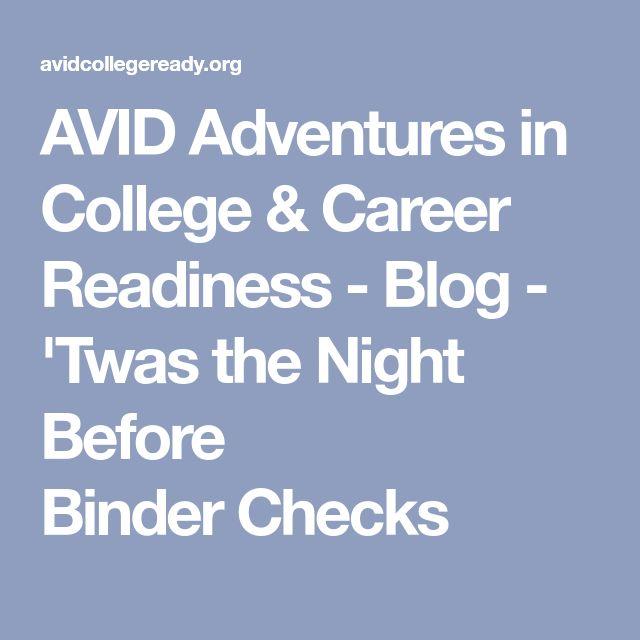 AVID Adventures in College & Career Readiness - Blog - 'Twas the Night Before BinderChecks