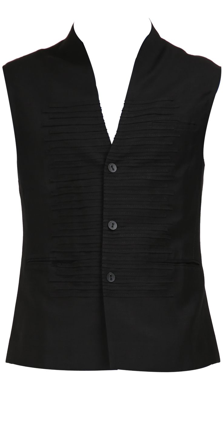 Black Waistcoat in Cotton Twill | Rohit Gandhi & Rahul Khanna Collection