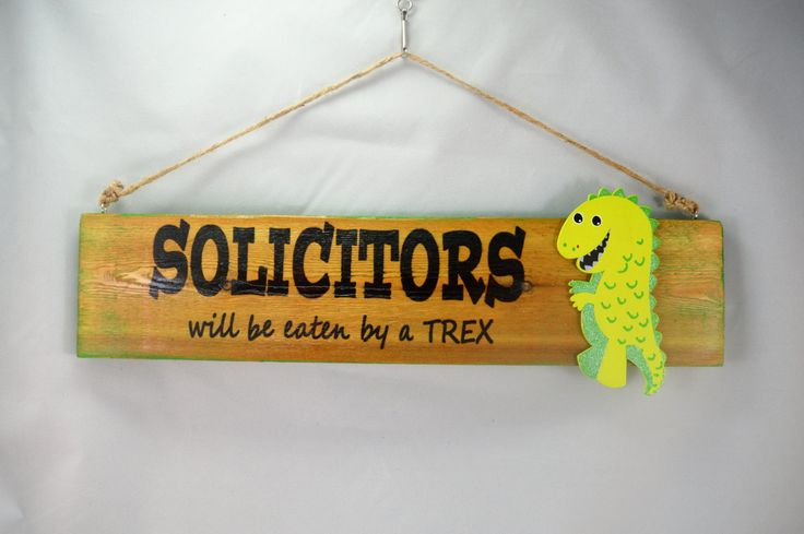 Solicitors Will Be Eaten By A TRex Wooden Fence Picket Sign, Sublimation Printed, Rustic Fence Picket Sign, Funny No Soliciting Sign by ForeverCharmz on Etsy