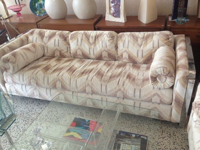 Mostly Modern Miami Vintage Furniture Store 70s Chrome Banded Sofa And Loveseat