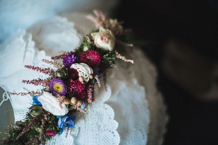 floral wreath, paper lantern covered with lace