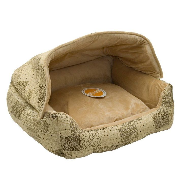 COZY PET BED - HOODED DOGGIE SLEEPER - Easy Wash And Care - Tan Patchwork - New