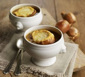 French onion soup. A deeply savoury soup to use up a garden glut, make sure you caramelise your onions so they're really rich and tender