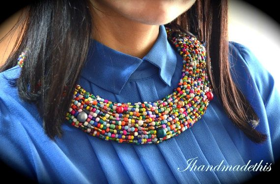 Multi color statement beads embroidery necklace by Ihandmadethis