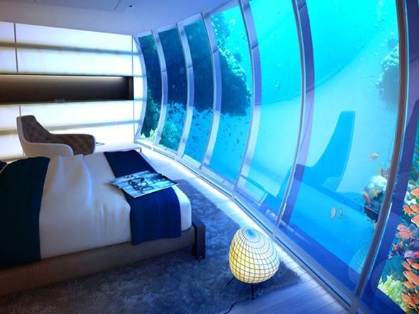 Quartos do hotel subaquático de Dubai terão paredes transparentes e iluminação especial