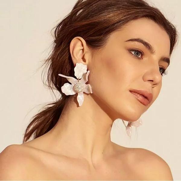 1 Pair Bohemian Luxury Resin Big Flower Long Drop Earrings For Women Jewelry