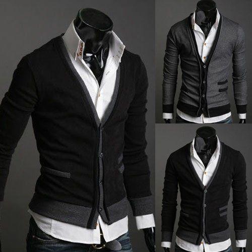 Men's fake pocket sweater cardigan (wool cashmere)