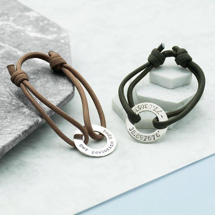 Personalised Mens Coordinate Paracord Bracelet  Brown & Black Leather Personalised Bracelet