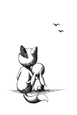 Saatchi Online Artist Indrė Bankauskaitė; Drawing, Fox and a Rabbit #art