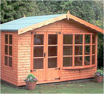 The Brighton Summerhouse features the option of a large bay window and double doors. Available to order from Adrian Hall Garden Centres, Feltham