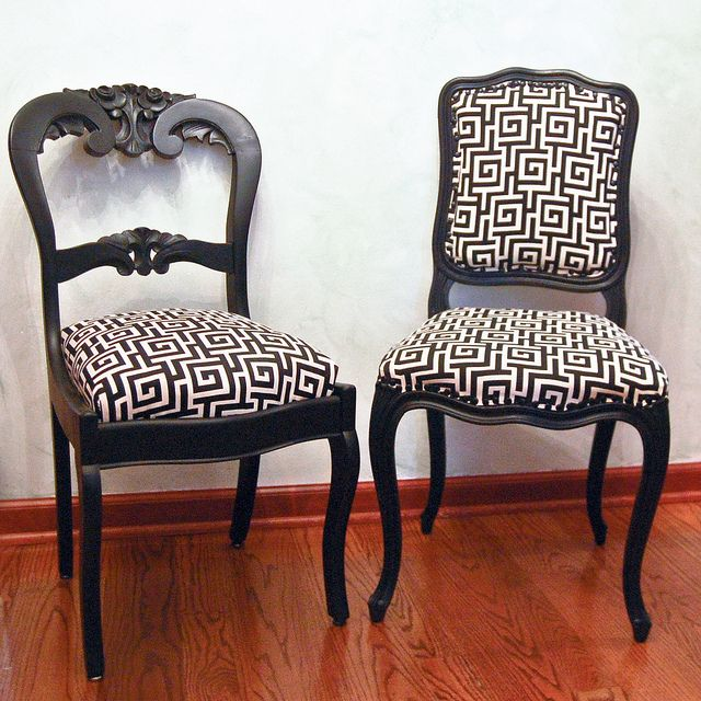 Buy different chairs then paint all the same color and fabric...love this for a round dining table...great way to get away from matchy matchy decor!!!!