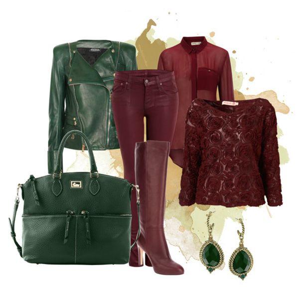 С чем носить бордовые сапоги: зеленая куртка и зеленая сумка
