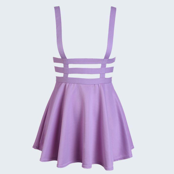 Preppy Style Suspender Skirts Women Girl Ruffles Skater Pleated Short Braces Skirt Back Zipper Hollow Out Skirt B2# 41